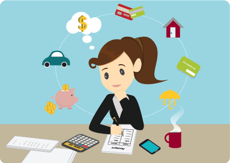 Woman thinking of managing her finances