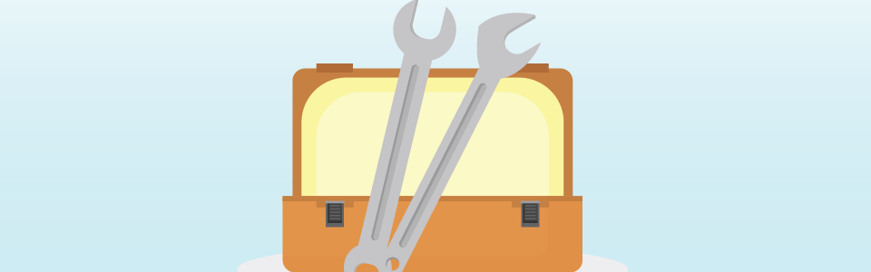 Toolbox with two wrenches