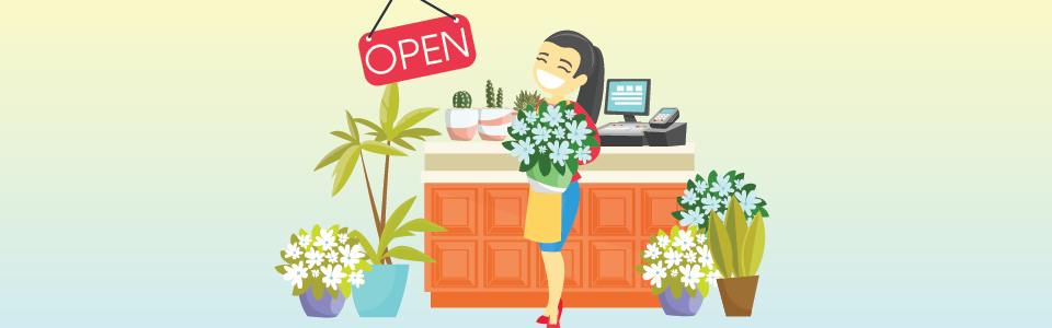 Woman Business owner with plants