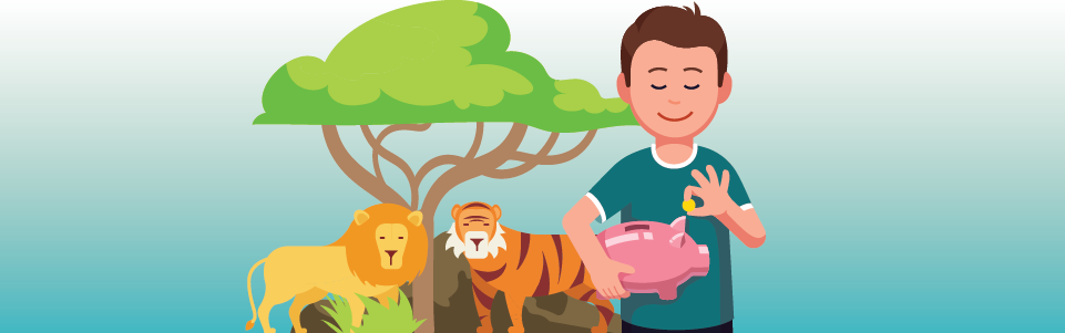 Boy saving money thinking of the zoo