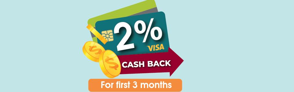 2% Cash Back on Visa Platinum Cash Back Card